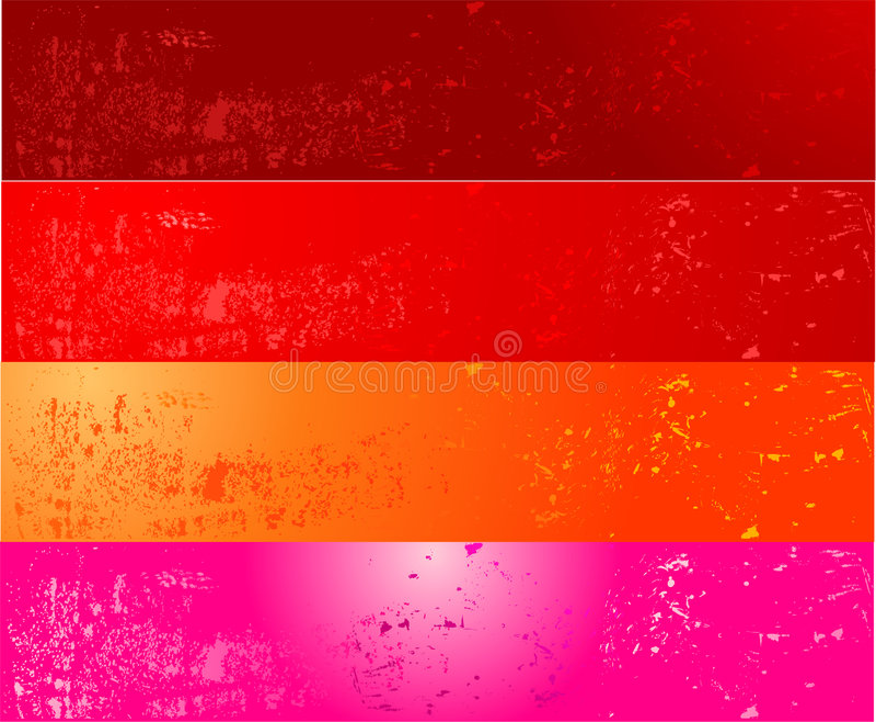 grunge för baner fyra vektor illustrationer