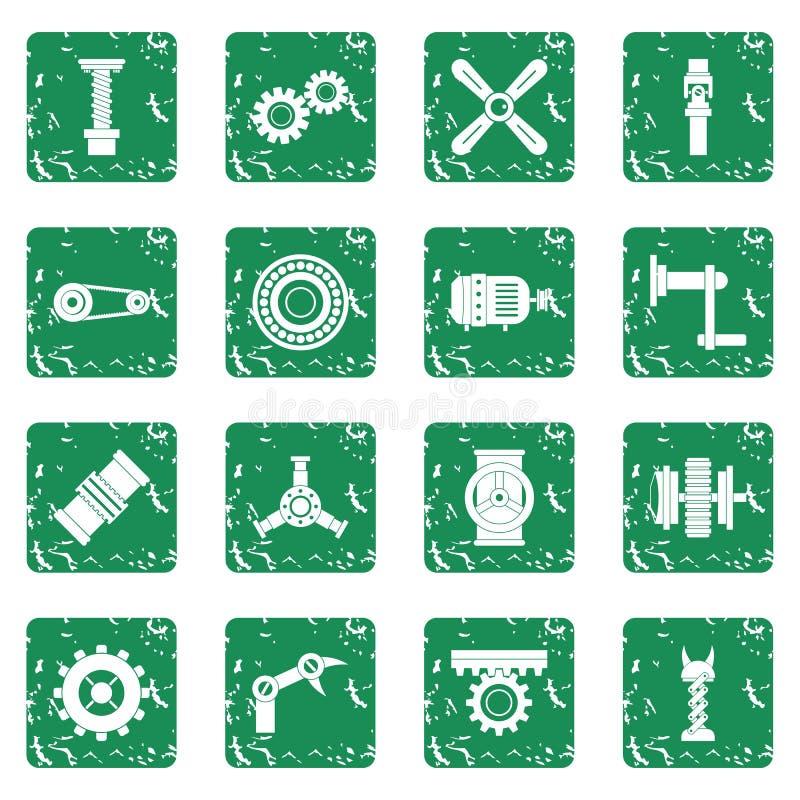 Grunge för symboler för Techno mekanismsats fastställd stock illustrationer