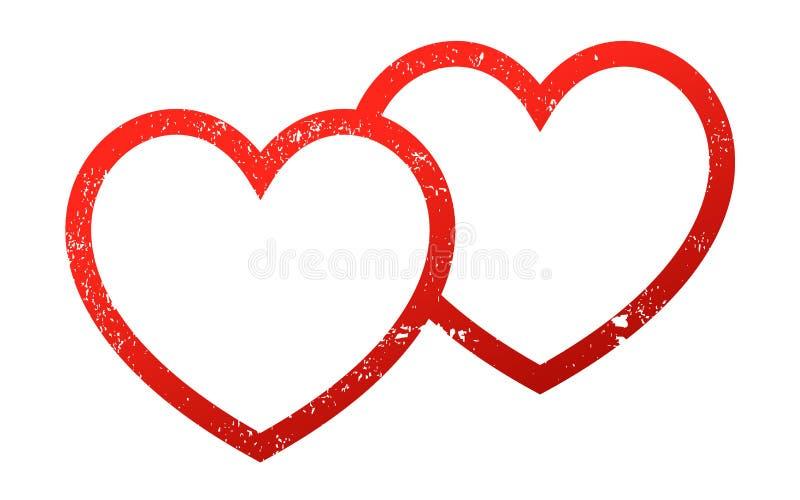 Grunge för två anknuten hjärtor stock illustrationer