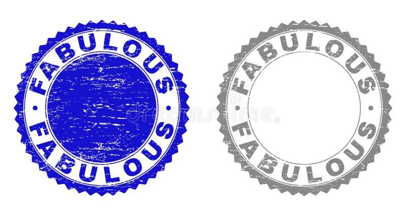 Grunge FABULOUS Textured Stamp Seals stock illustration