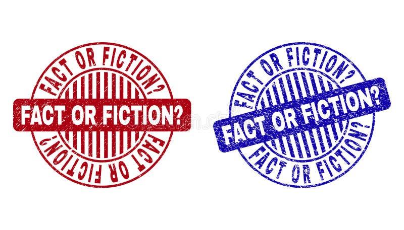 Grunge fact LUB BELETRYSTYCZNY pytanie Drapaj?cy Woko?o Stemplowych fok ilustracji