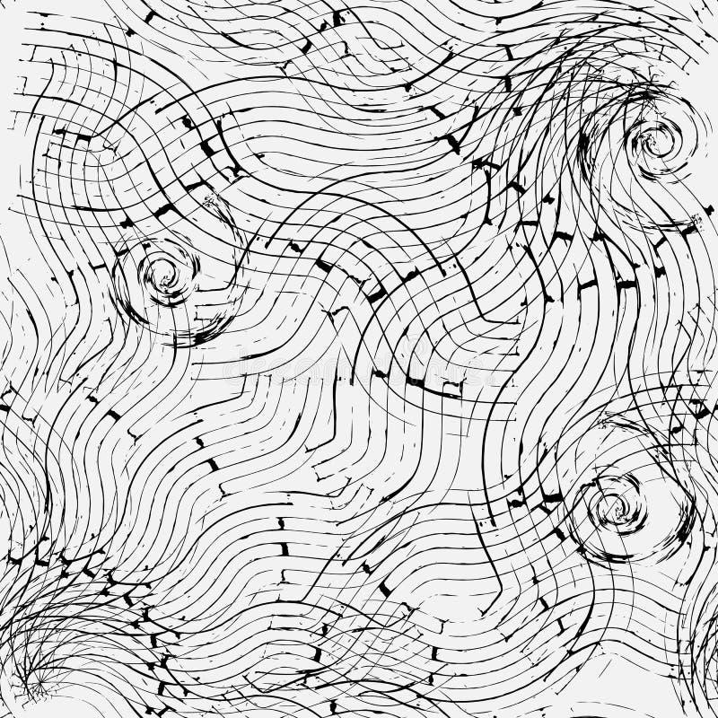 Grunge faliste linie i lampasa geometryczny wektorowy bezszwowy wzór royalty ilustracja