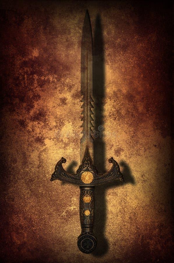 Grunge fantasy sword background royalty free stock photo