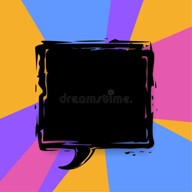Grunge farby muśnięcia pudełka mowy bąbla tekstura z miejscem dla teksta na kolorowym tle ilustracji