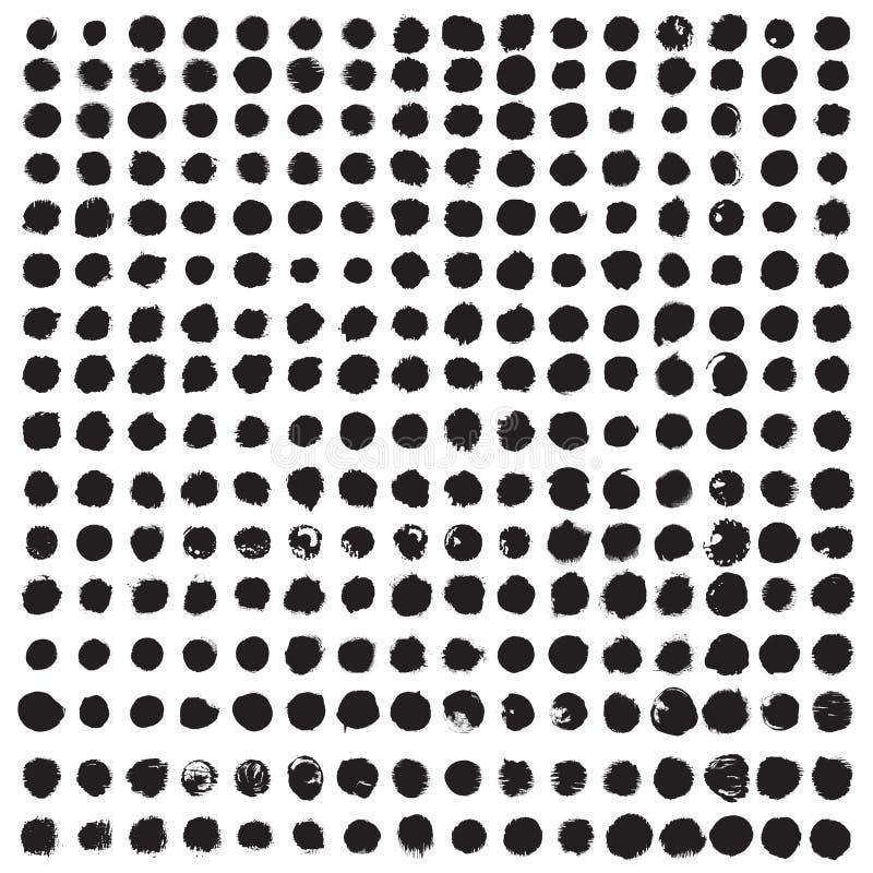 Grunge farby okręgu wektorowy element ustawiający nad 250 rzeczami obrazy stock