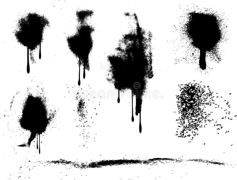 grunge farby splats spray ilustracji