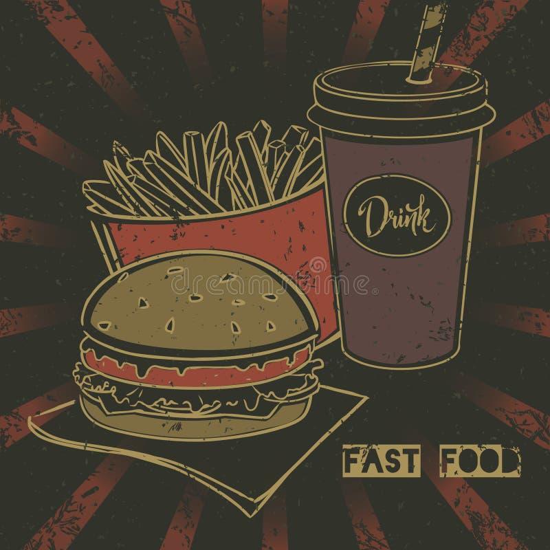 Grunge fasta food plakat z cheeseburger, sodą i francuzem, smaży takeaway ilustracja wektor