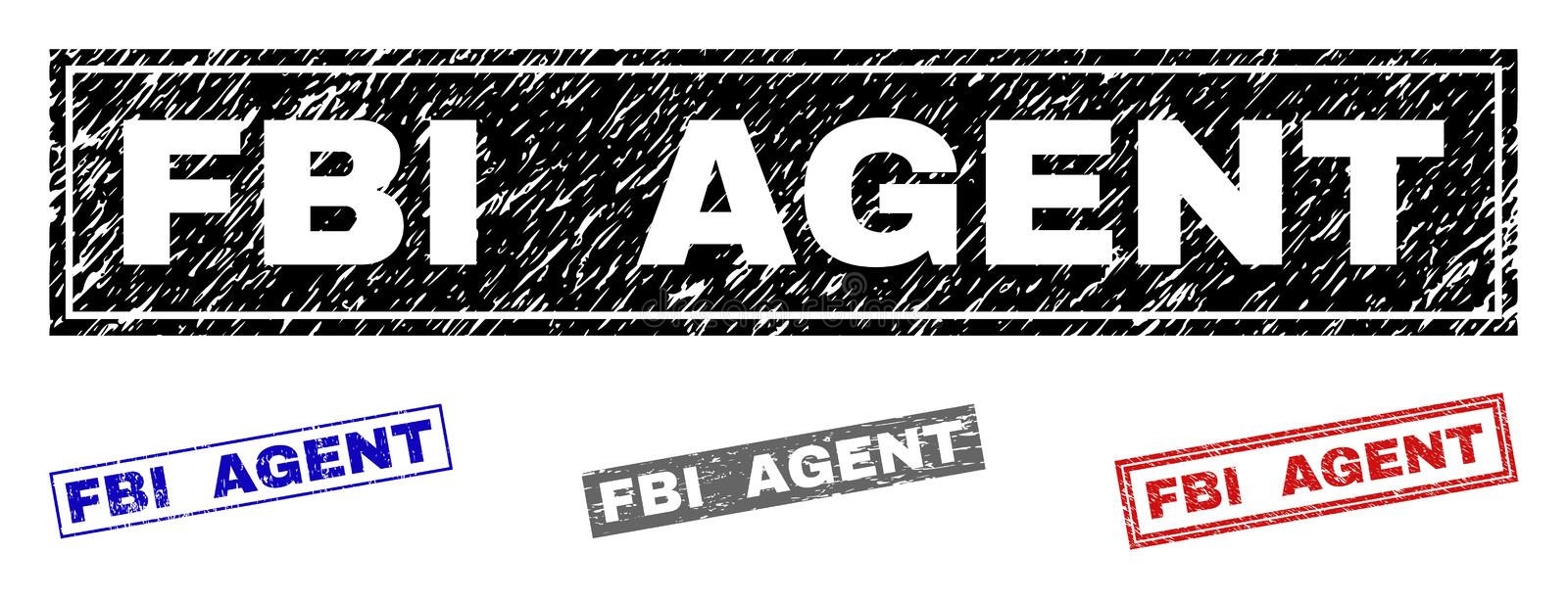 Grunge FBI AGENT Scratched Rectangle Watermarks. Grunge FBI AGENT rectangle watermarks isolated on a white background. Rectangular seals with grunge texture in vector illustration