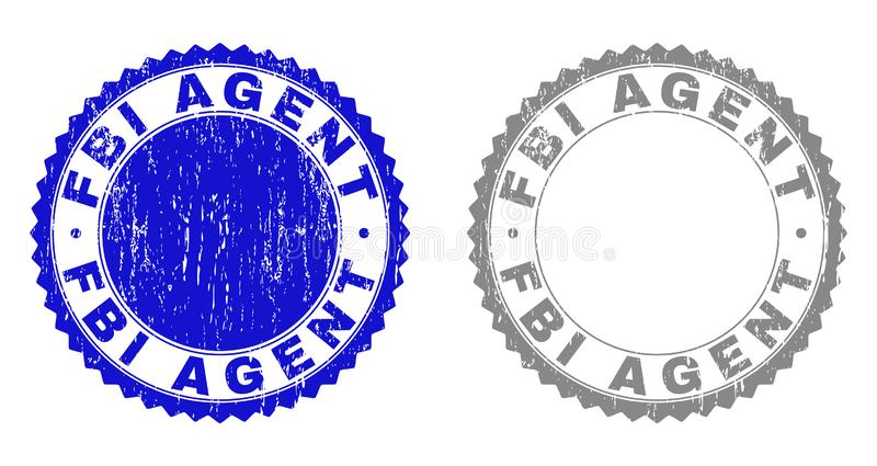 Grunge FBI AGENT Scratched Stamp Seals. Grunge FBI AGENT stamp seals isolated on a white background. Rosette seals with grunge texture in blue and grey colors vector illustration