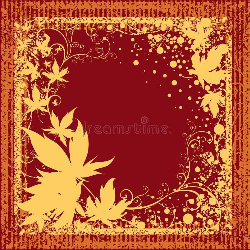 Grunge Feld mit Herbst-Blättern. Danksagung lizenzfreie abbildung