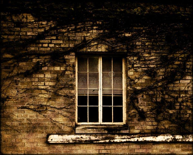 Grunge Fenster und Ziegelstein stockfotografie