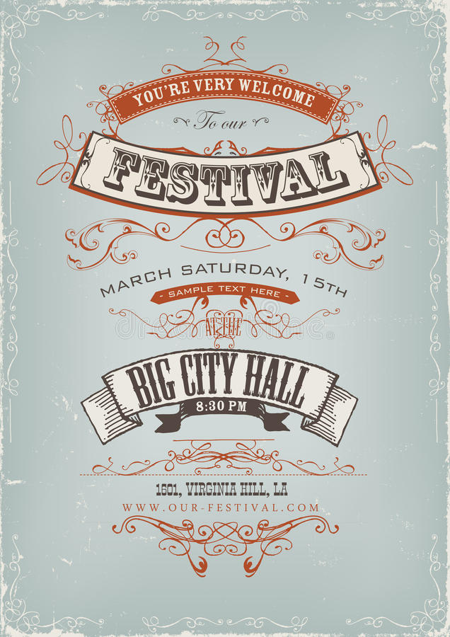 Grunge Festival Invitation Poster stock illustration