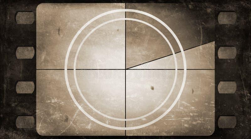 Grunge film frame background with vintage movie countdown. Retro silent 35 mm film frame grunge background with vintage movie countdown (realistic aspect ratio stock illustration