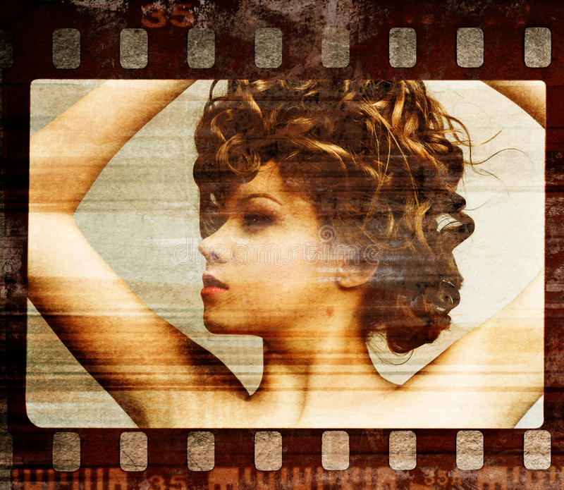 Grunge film frame. Retro shot stock illustration