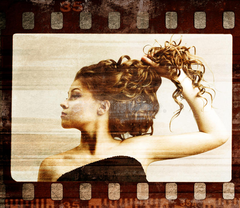 Grunge film frame. Retro shot vector illustration