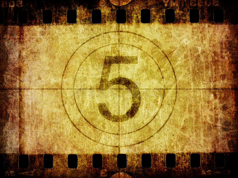Grunge Filmnegativ-Hintergrund-Count-down-Führer lizenzfreie abbildung