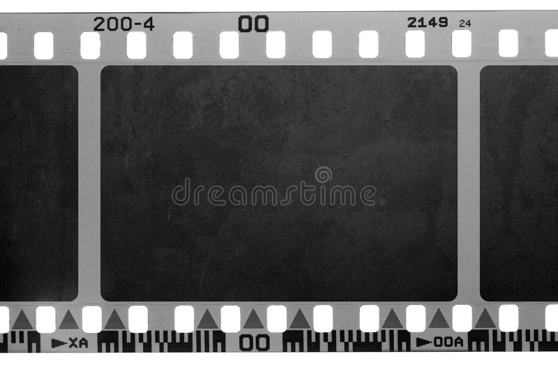 Grunge filmstrip. Closeup of grungy filmstrip for backgrounds or designs royalty free stock photos
