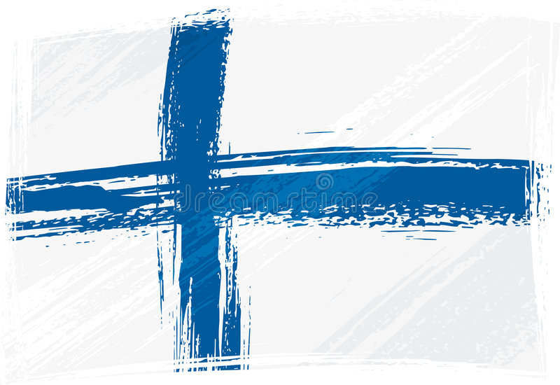 Grunge Finland flag. Finland national flag created in grunge style vector illustration