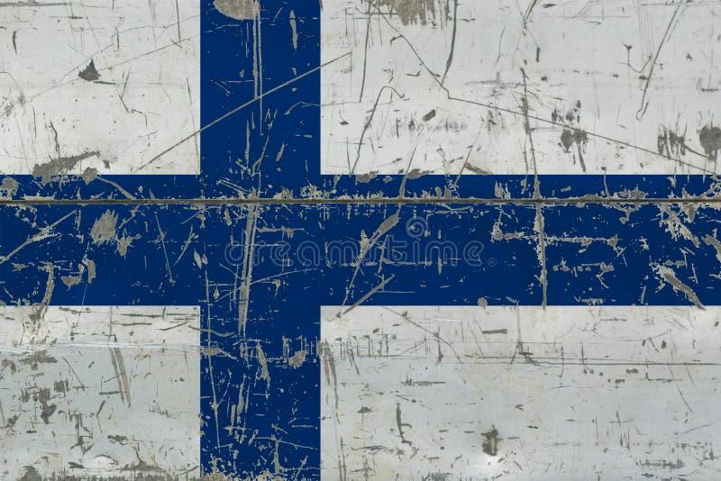 Grunge Finland flag on old scratched wooden surface. National vintage background royalty free illustration