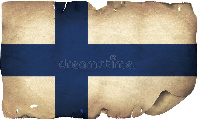 Finland Flag O Old Paper. A grunge Finland flag on old torn paper royalty free stock photography