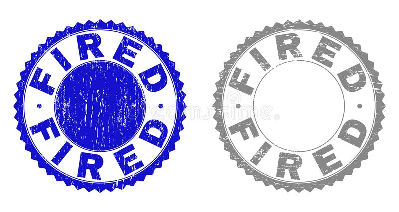 Grunge FIRED Textured Stamp Seals royalty free illustration