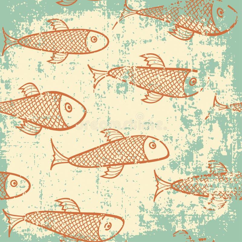 Grunge fish. Fish pattern in grunge style stock illustration