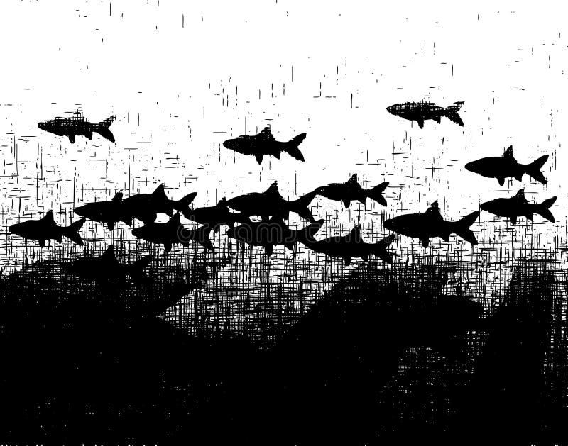 Grunge Fishy ilustração royalty free