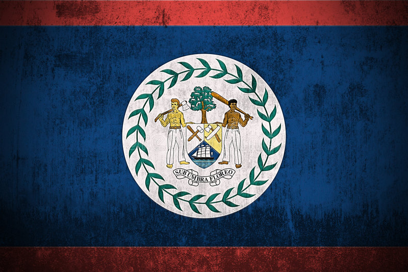 Grunge Flag Of Belize. Weathered Flag Of Belize, fabric textured stock illustration