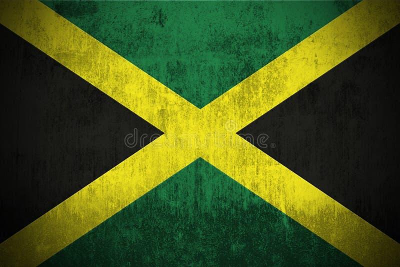 Grunge Flag Of Jamaica. Weathered Flag Of Jamaica, fabric textured royalty free illustration