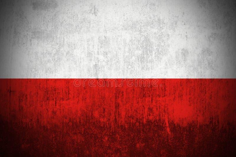 Grunge Flag Of Poland. Weathered Flag Of Poland, fabric textured stock illustration