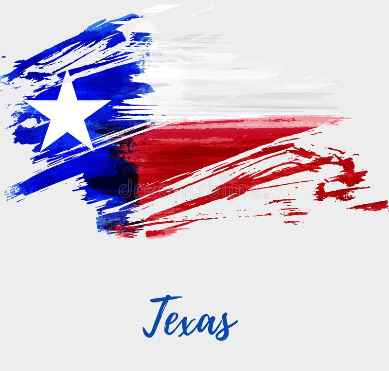 Grunge flag of the state of Texas. Abstract watercolor grunge flag of the state of Texas. The Lone Star Flag. Modern watercolored style. Template for your stock illustration