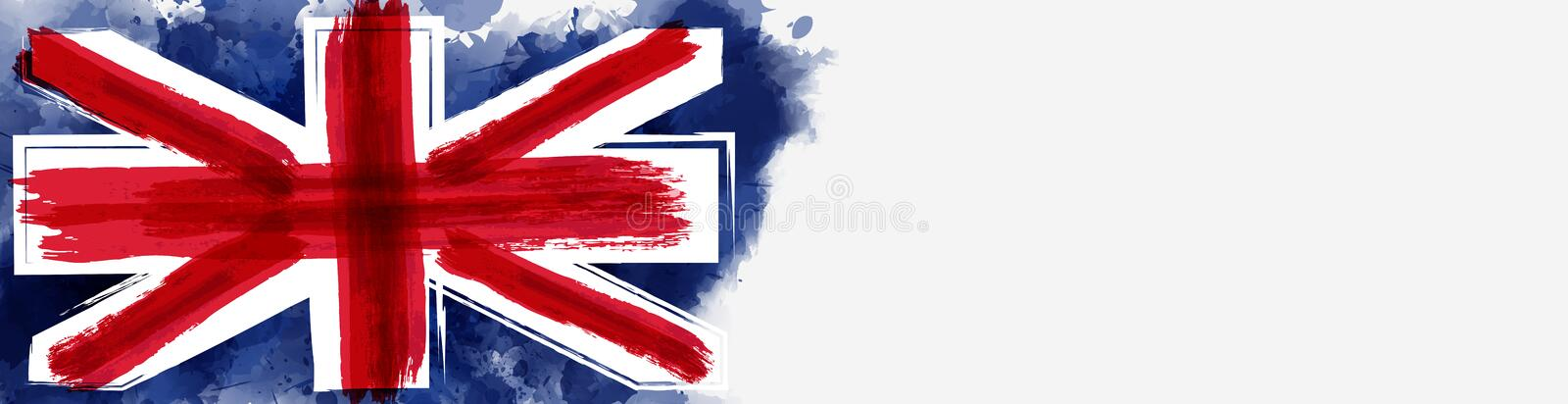 Grunge flag of the United Kingdom. Abstract flag of the United Kingdom. Grunge painted flag with watercolor splashed and brushed lines. Template for horizontal stock illustration