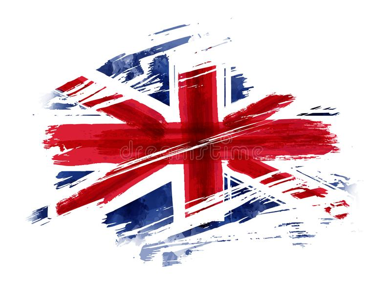 Grunge flag of the United Kingdom. Abstract flag of the United Kingdom. Grunge painted flag with watercolor splashed and brushed lines. Template for your designs royalty free illustration