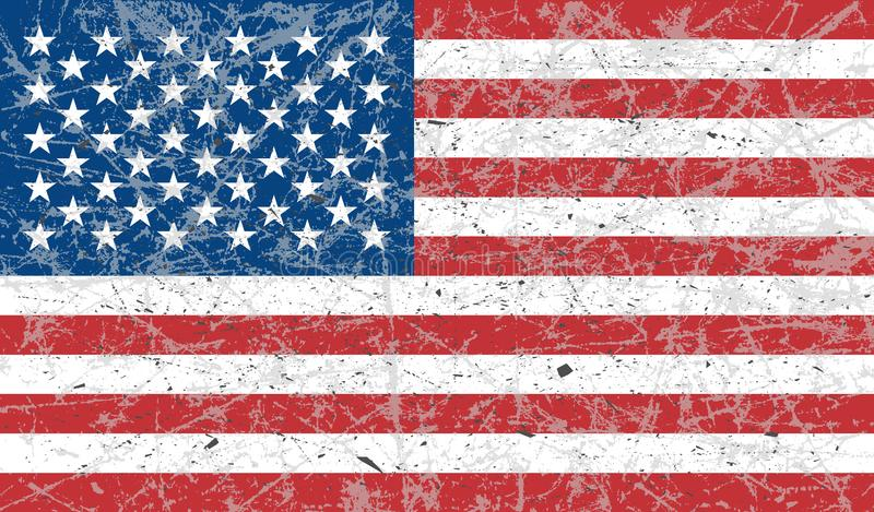 The grunge flag of the United States of America is colored. The effect is scratched, worn, old. Vector art design, template. royalty free illustration
