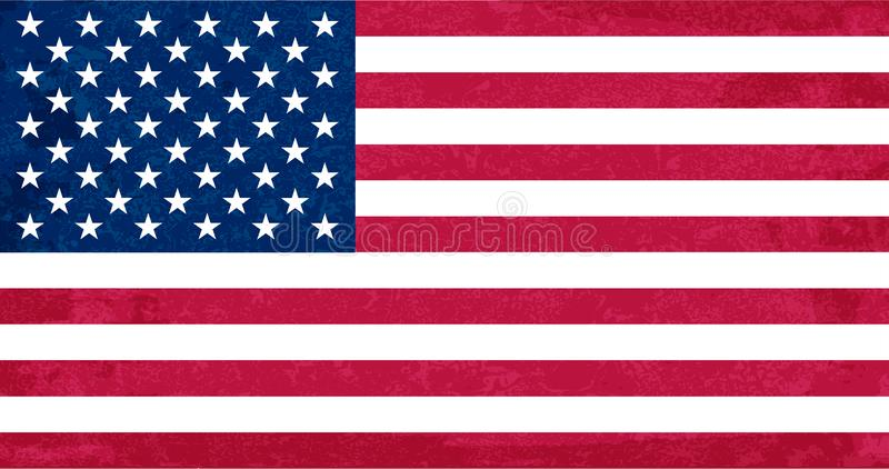 Grunge flag of USA. Isolated American banner with scratched texture. Flat style, vector with noise, marble textured vector illustration