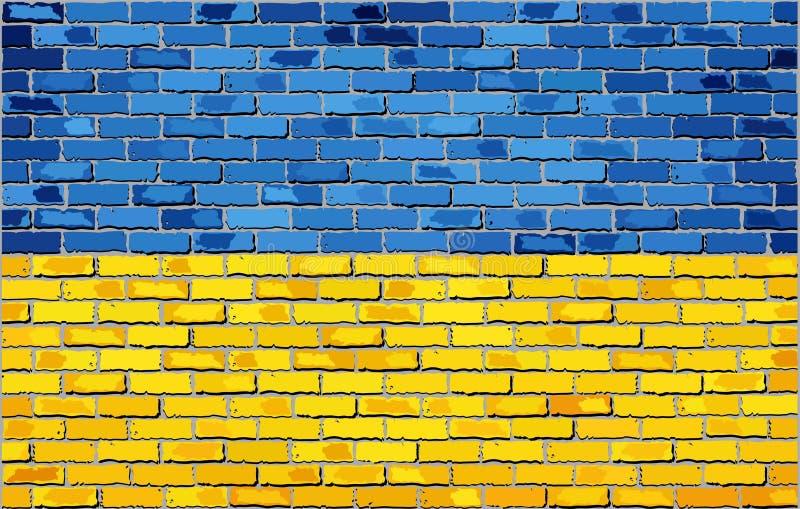 Grunge flaga Ukraina na ściana z cegieł ilustracja wektor