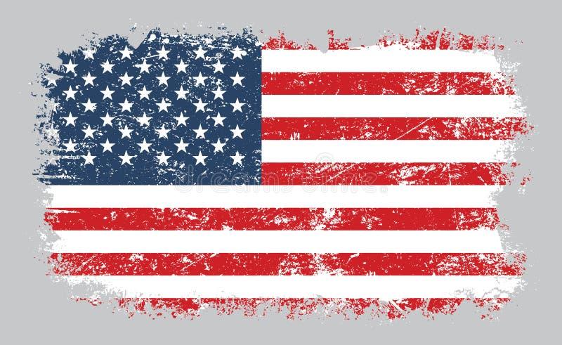 Grunge flagi amerykańskiej wektoru stara ilustracja ilustracja wektor