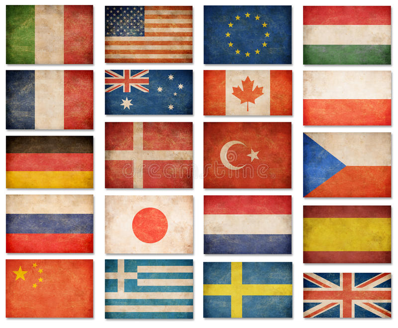 Grunge flags: USA, Great Britain, Italy, France, Denmark, German royalty free illustration
