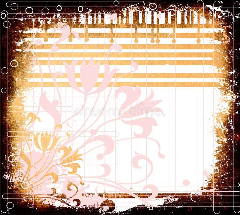 Grunge floral ilustração stock