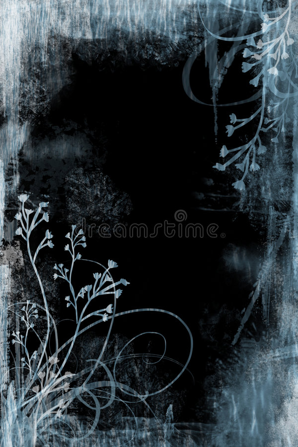 Grunge floral azul ilustração stock