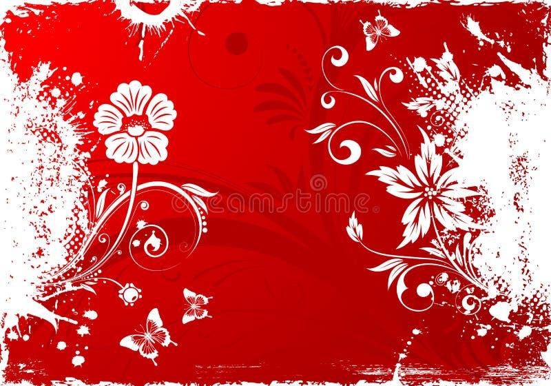 Grunge Floral Background. With butterflies for design, illustration stock illustration