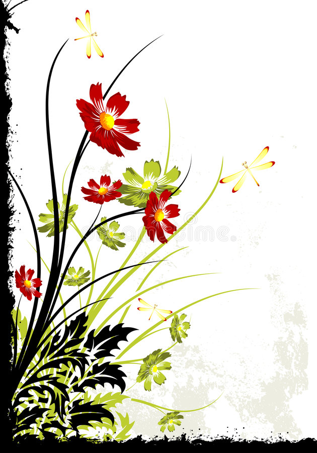 Grunge Floral Background royalty free illustration