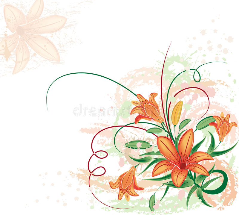 Download Grunge Floral Background With Lilium, Vector Royalty Free Stock Images - Image: 1563889
