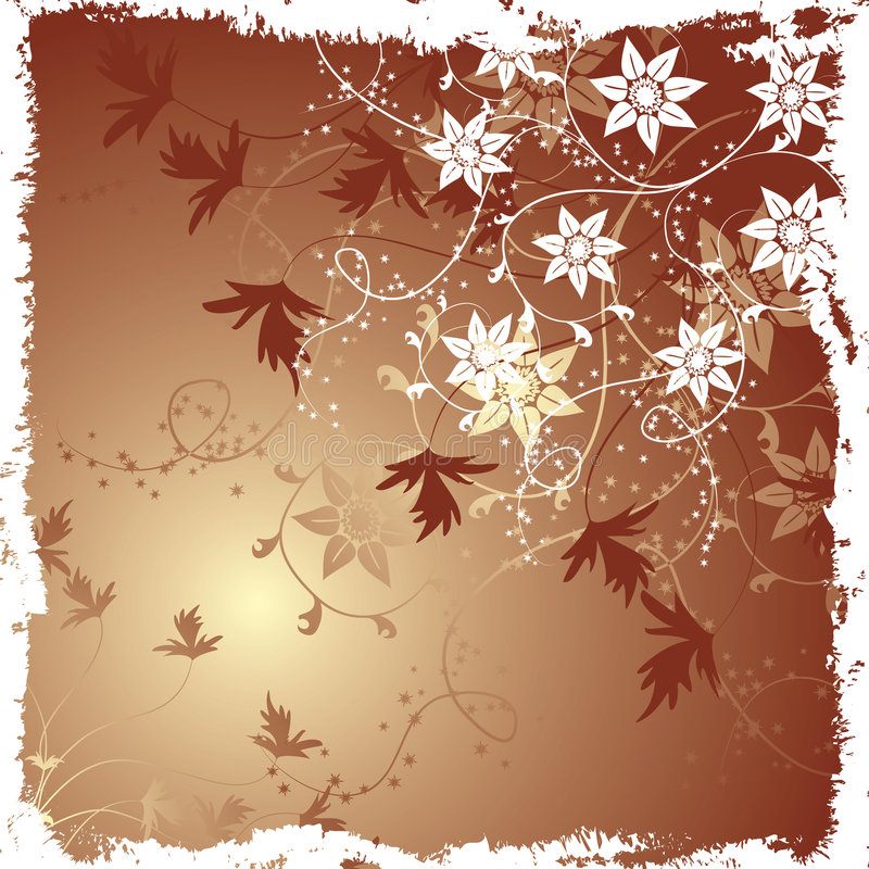Grunge floral background, vector royalty free illustration
