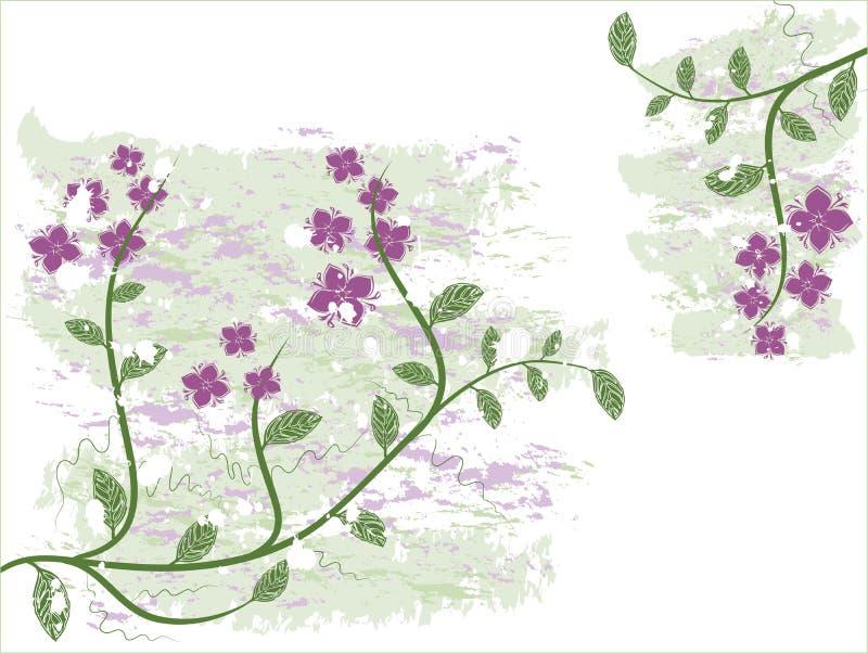Grunge floral background, vector stock illustration