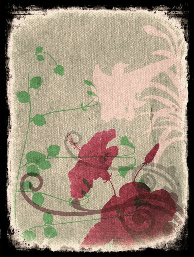 Free Grunge Floral Background With Frame - Pink Royalty Free Stock Photography - 1257957