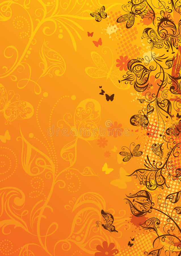 Grunge floral background. Yellow background with ornate flowers, butterflies, blots and place for your text stock illustration