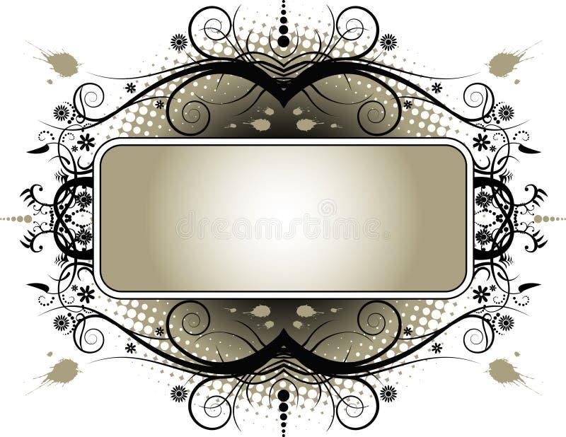 Grunge Floral Banner stock illustration