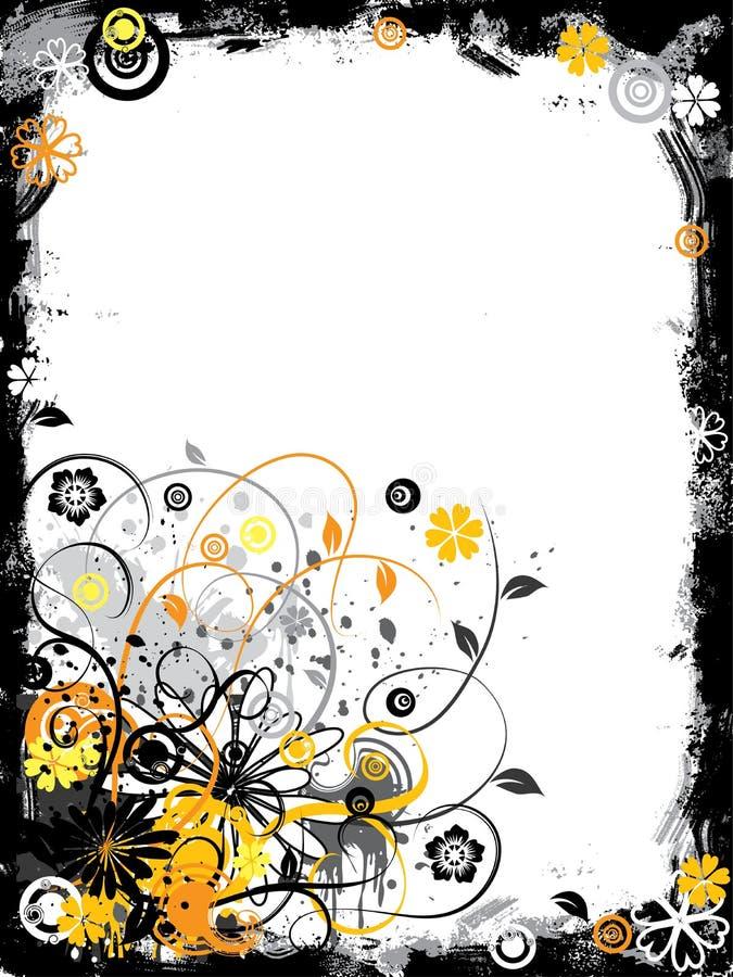 Grunge floral border, vector stock illustration