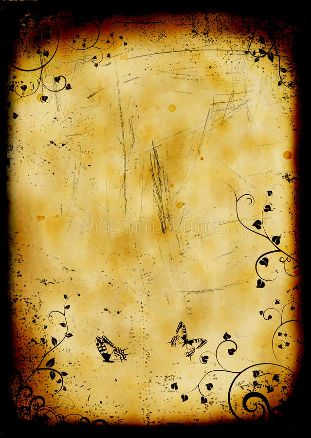 Grunge floral burned background with butterflies